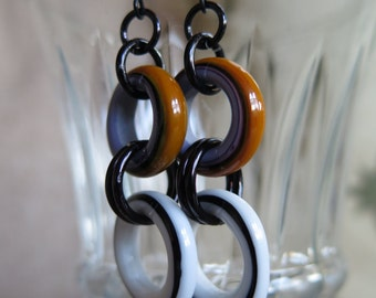 orange and black earrings, white and black earrings, mod earrings, retro earrings, lavender and orange earrings retro jewelry, modern hoops