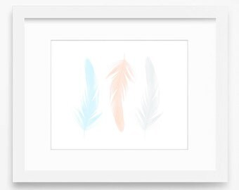 Feather wall art, Feather printable, printable art, bohemian decor, Feather art print, Feather art, Feather home decor, Feather print, art