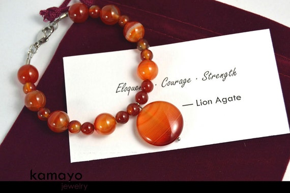 LION AGATE BRACELET - Fits Wrist of Up to 6.2""