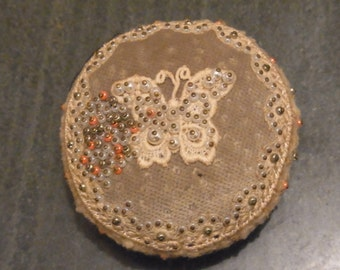 Vintage Pin Cushion Butterfly EmbroideryVintage Pin Cushion 1930s Butterfly Decorated Vintage Pin Cushion