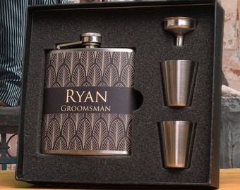 8 - Groomsmen Gift, Art Deco Wedding, Flask Gift Sets