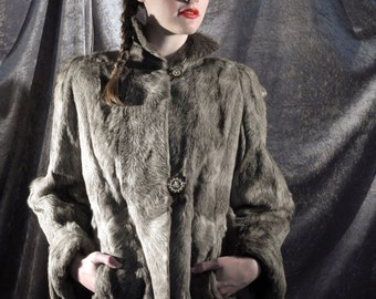 """sublime 1930's grey fur swing jacket by """"Goldenson Furs"""" of Toronto with reverse carved lucite buttons & silk grosgrain lining"""