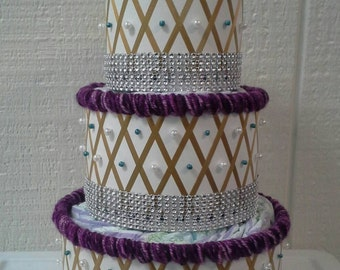 Purple , Gold , Teal 3 Tier Diaper Cakes , Pearls and Bling Elegant Themed Baby Shower Decor , Creative Table Centerpiece , Baby Girl Gift