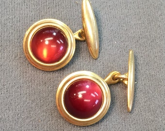 Krementz Red Stone Cuff Links-  Free shipping