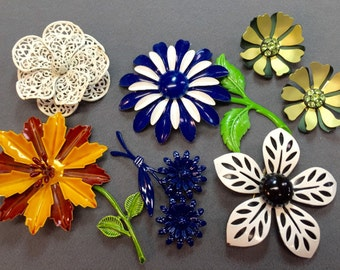 1960's Enamel Flower Brooches and Pair of Earrings-Groovy!  Free shipping