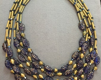 Big Showy Vintage Blue Glass and Brass Beaded Necklace.  Free shipping