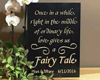 Fairytale Wedding Personalized Wood Wedding Sign Carved Plaque Once in a while Reception Table Decor Rustic Wedding Decorations Shower Gifts