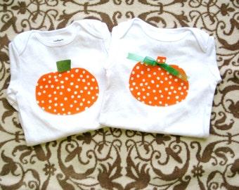 Halloween Pumpkin Sibling Boy Girl Shirts/Pumpkin shirts for brother sister/Matching Halloween shirts for boys & girls/Pumpkin twins
