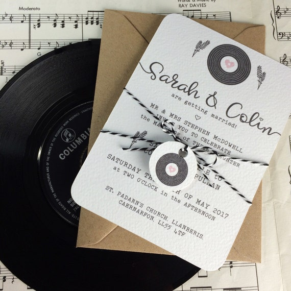 Wedding invitations romantic vinyl record design x 40 for Etsy vinyl wedding invitations
