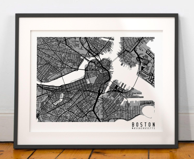 Boston Map Art Boston City Map Print Boston Wall By