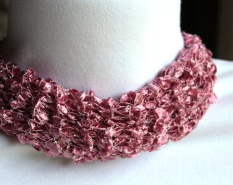 Adjustable Cowl Necklace ~Specially Ordered Pink Ladder Yarn with Silver Thread~ Pink Scarf ~ Scarf ~ Hand Knit ~ Made in USA
