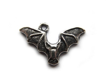 10 Silver Flying Bat Charms -  Halloween Charms