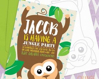 5 X Personalised SAFARI JUNGLE Animals Birthday Party Invitation Stationary * Elephant * Monkey * Lion * Tiger