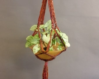 Decorative Plant Hanger Made From Re-Purposed Silk Sari Yarn Ribbon. Macrame Knots. Vintage Glass Bowl.