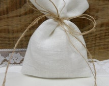 50 Linen favor bags. Tea bag favors. Linen white bags. White linen bags. Gift small bags