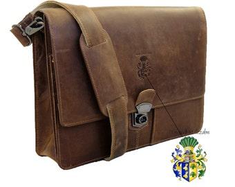 Thick leather portfolio with shoulder strap SCHILLER brown - BARON of MALTZAHN