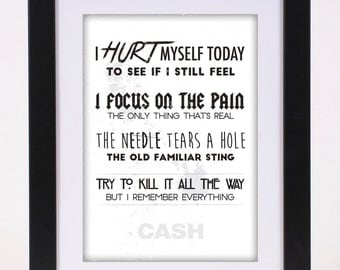 Johnny Cash 'Hurt' Printed Lyrics Poster - available in A4 and A3 // Gift Ideas // Rock // Typography