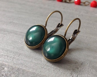 Dark Moss Green Dangle Earrings Lever Back Antique Bronze Minimalist Jewelry