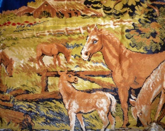 Large Vintage Tapestry Italian Horse Tapesrty