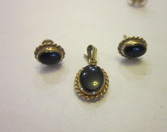 Vintage Gold Filled & Black Onyx Stone Petite Matching Pierced Earrings and Pendant
