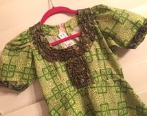 One of a kind artsy handmade 70's girls dress size 10 / green