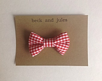 Boys red gingham clip bow tie