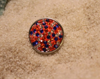 Blue, Orange and Clear Rhinestones