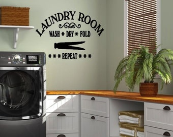 Laundry Room Wall Decal, Wash dry fold repeat laundry room vinyl wall decal, Vinyl wall quotes, Vinyl Wall Decor, Vinyl Wall Lettering