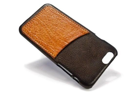 "NEW iPhone 8 or 7 4.7"" leather credit card case (choose # of slots and Accent) col CASTAGNO"
