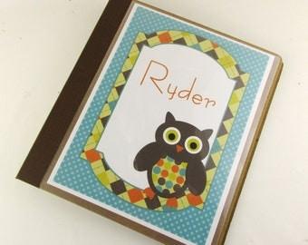 Modern baby book, Owl baby memory book, baby girl or boy scrapbook pregnancy journal baby shower gift 551