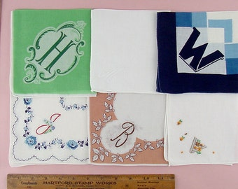 Choice of Vintage Monogram Handkerchiefs Monograms H M W J B and V (Inventory #Monogram28)