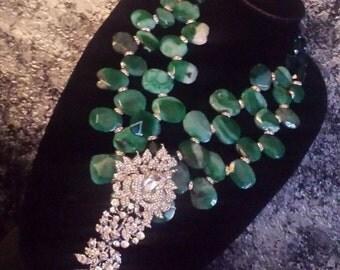 Massive Green Agate Slab Bib Statement Necklace HUGE Rhinestone Statement Pendant VRBA Luxury Upscale High End HEAVY Rodeo Drive Wedding