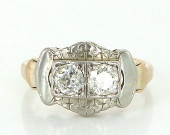 Double Diamond Ring Vintage 14k Two Tone Gold Estate Fine Jewelry Pre Owned