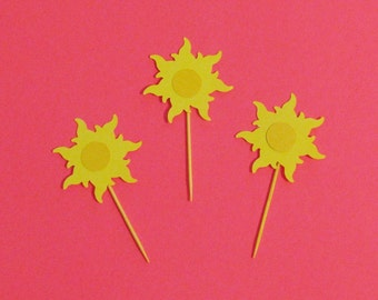 Cupcake Toppers Inspired by Tangled Party Decorations Set of 6 Layered Cupcake Toppers Sun Decorations Tangled Decorations Princess Party