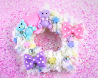 Pastel fuzzy star clip-two way clip-pastel hair accessory-fairy kei-sweet lolita-lolita hair clip-fairy kei accessory-cabochons-pink clip