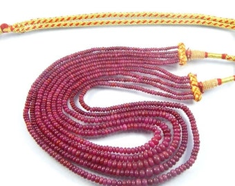 """on sale 25% shop sale Natural African Ruby AA Quality Precious Gemstones, Rich Lustrous Color Medium Smooth Rondelles 2-7 mm 5 strand 18"""" 1"""