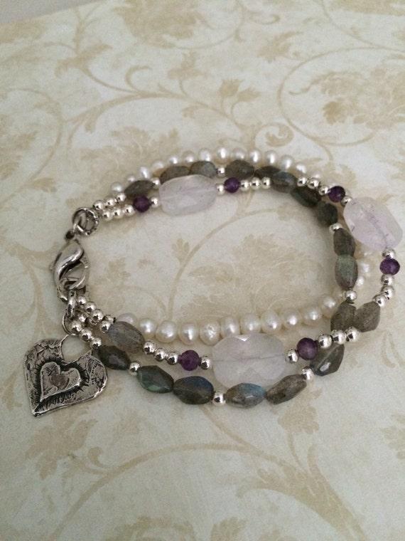 Artisan Labradorite, Pearl, and Amethyst Charm Bracelet, Valentine's Day Gift Idea