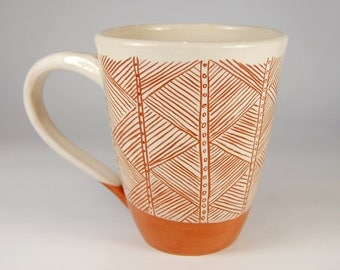 Asimetric handmade Pottery Mug, Coffee Mug, Sgraffito cup,Stripes ornament, Lithuanian red earthenware