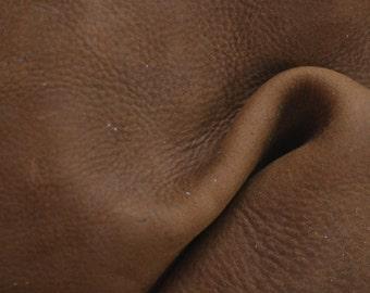 "Brown Grunge Leather Chap Cowhide 4"" x 6"" Pre-cut 5 ounces nubuck TA-32788 (Sec. 3,Shelf 6,A,Box 1)"