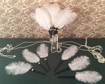 25 Black Feather Pen PARTY FAVORS Wedding Favors Bridal Shower Favors Wedding Shower Favors Bachelorette Party Favors Black PEN Favors Favor