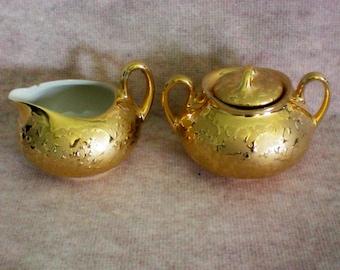 22 KT Gold Weeping Gold Porcelain Creamer & Sugar Set - 4226