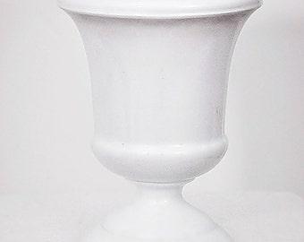White Milkglass Pedestal Footed Vase Mid Century Clasic Style Wedding Centerpiece