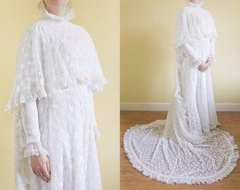 S UK 10-12 | Original Vintage 1970s Wedding Dress  | 70s Lace Wedding Gown | Boho Wedding Dress | Victorian Style Alternative Wedding Dress.
