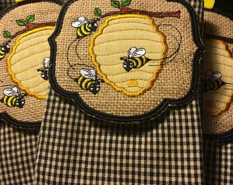 Beehive Towel Topper with Gingham Check Tea Towel
