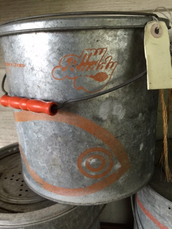 Vintage Minnow Bait Buckets Galvanized 10 Quart Pail Nice