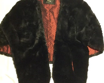 Black Fur Stole with pockets