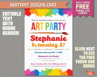 Art Party Invitation with FREE Thank you Card - Art Birthday Party - Instant Download - Edit and print at home with Adobe Reader