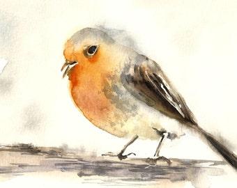 Bird Original Watercolor Painting, Yellow Bird Painting, Bird Art, Bird Watercolor