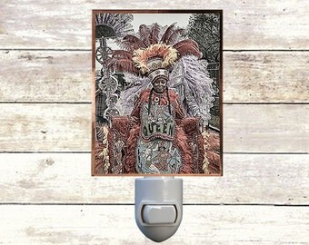 "Night Light ""The Queen"" Handmade, Copper Foiled, New Orleans art"