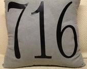 Area Code Iron on for Pillows - Custom Iron on - College Gift - Wedding Gift - Shower Gift - Custom Pillow Design - Going Away Gift - Home